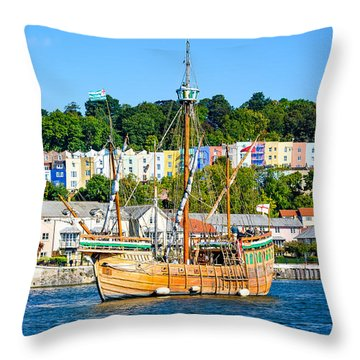 Throw Pillow featuring the photograph The Matthew In Bristol Harbour by Colin Rayner