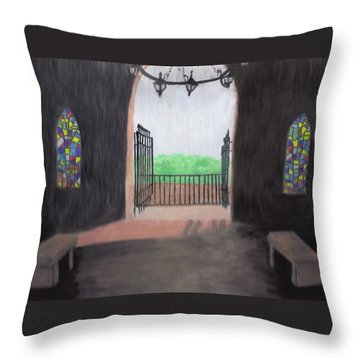 Throw Pillow featuring the drawing The Mausoleum by Jean Haynes