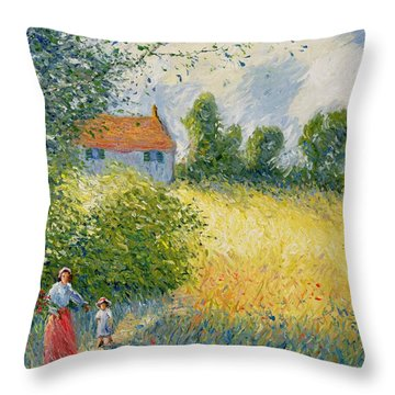 The Meadow Path  Throw Pillow