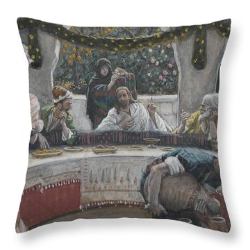 The Meal In The House Of The Pharisee Throw Pillow by Tissot