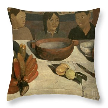The Meal Throw Pillow by Paul Gauguin