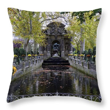 The Medici Fountain At The Jardin Du Luxembourg In Paris France. Throw Pillow