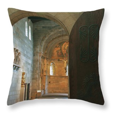 An Early Morning At The Medieval Abbey Throw Pillow