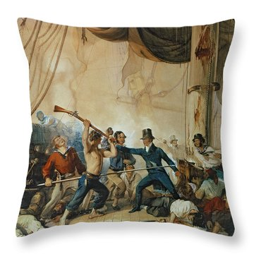 The Melee On Board The Chesapeake Throw Pillow by Anonymous