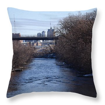 Throw Pillow featuring the digital art The Menomonee Near 33rd And Canal Streets by David Blank