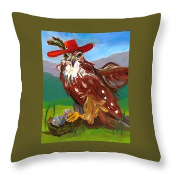 Throw Pillow featuring the painting The Merlin by Susan Thomas