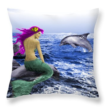 The Mermaid And The Dolphin Throw Pillow