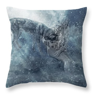 The Mermaid And The Husky Throw Pillow