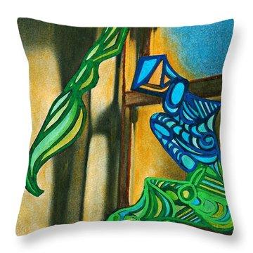 The Mermaid On The Window Sill Throw Pillow by Sarah Loft