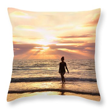 The Mermaid Throw Pillow by Rima Biswas