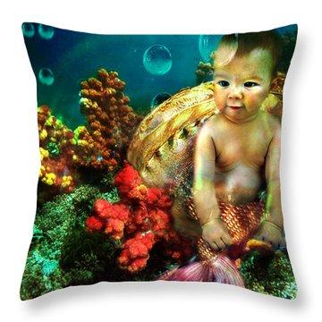 The Mermaids Treasure Throw Pillow