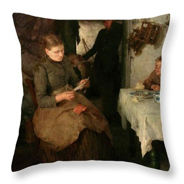 Throw Pillow featuring the painting The Message by Henry Scott Tuke