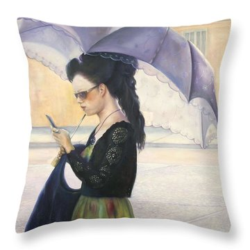 Throw Pillow featuring the painting The Message by Marlene Book