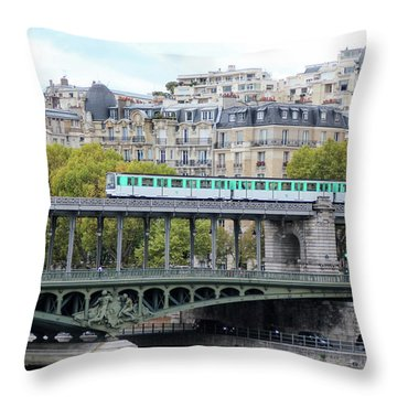 The Metro On The Bridge Throw Pillow by Yoel Koskas