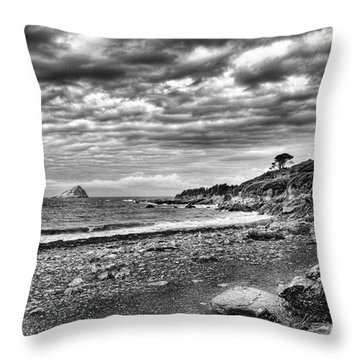 The Mewstone, Wembury Bay, Devon #view Throw Pillow by John Edwards
