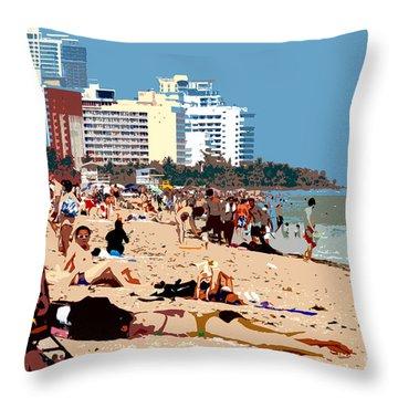 The Miami Beach Throw Pillow by David Lee Thompson