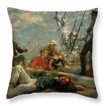 The Midday Rest Sailors Yarning Throw Pillow by Henry Scott Tuke
