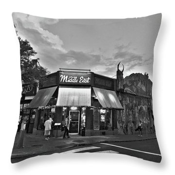 The Middle East In Central Square Cambridge Ma Black And White Throw Pillow