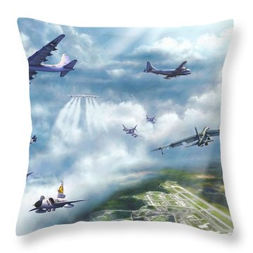 Throw Pillow featuring the painting The Mighty Loring A F B by Dave Luebbert