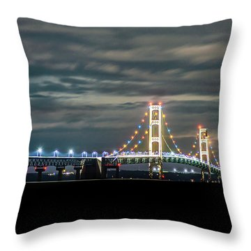 Throw Pillow featuring the photograph The Mighty Mack At Night by Onyonet  Photo Studios