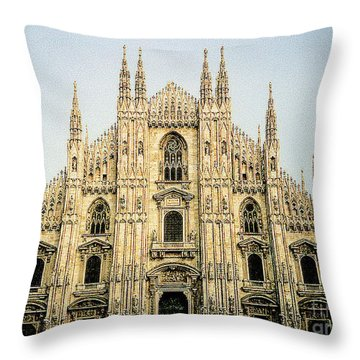 Throw Pillow featuring the photograph The Milan Cathedral - Italy by Merton Allen