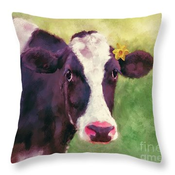 Throw Pillow featuring the photograph The Milk Maid by Lois Bryan