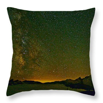 The Milky Way And Mt. Rainier Throw Pillow
