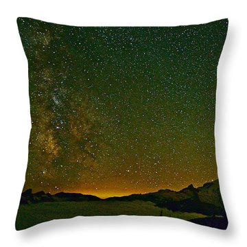 The Milky Way And Mt. Rainier Throw Pillow