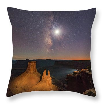 The Milky Way And The Moon From Marlboro Point Throw Pillow