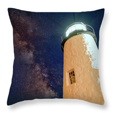 The Milky Way Over Pemaquid Point Throw Pillow by Rick Berk