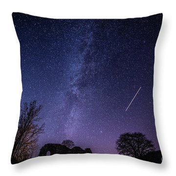 The Milky Way Over Strata Florida Abbey, Ceredigion Wales Uk Throw Pillow
