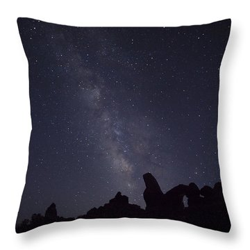 The Milky Way Over Turret Arch Throw Pillow