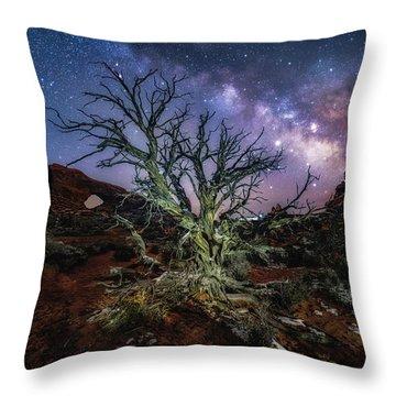 The Milky Way Tree Throw Pillow