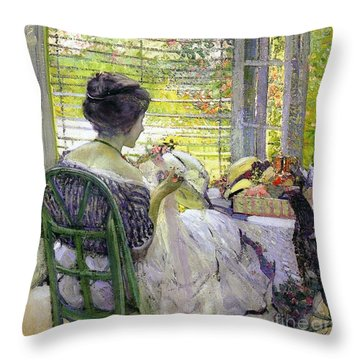 The Milliner Throw Pillow by Richard Edward Miller