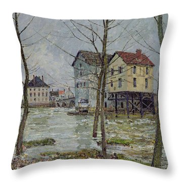 The Mills At Moret Sur Loing Throw Pillow by Alfred Sisley