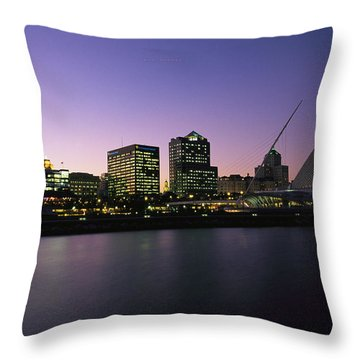 The Milwaukee Skyline At Twilight Throw Pillow by Medford Taylor