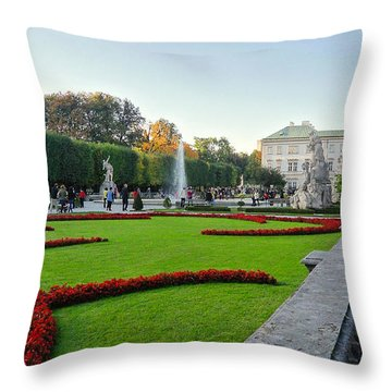 The Mirabell Palace In Salzburg Throw Pillow by Silvia Bruno