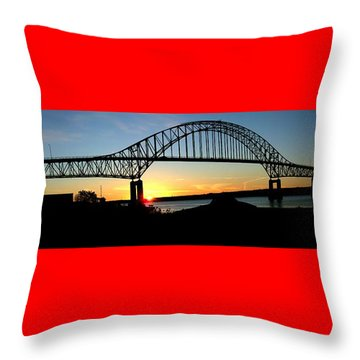 The Miramichi Bridge Sunset  Throw Pillow