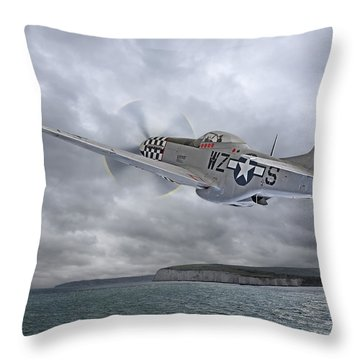 The Mission - P51 Over Dover Throw Pillow