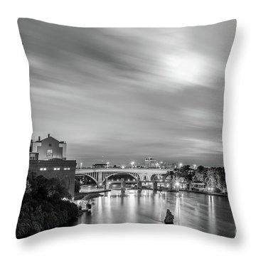 The Mississippi River Night Scene Throw Pillow