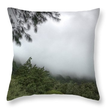 Throw Pillow featuring the photograph The Mist On The Mountain by Break The Silhouette