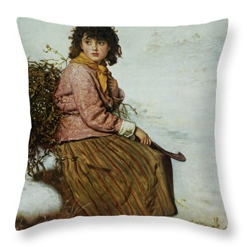 The Mistletoe Gatherer Throw Pillow by Sir John Everett Millais