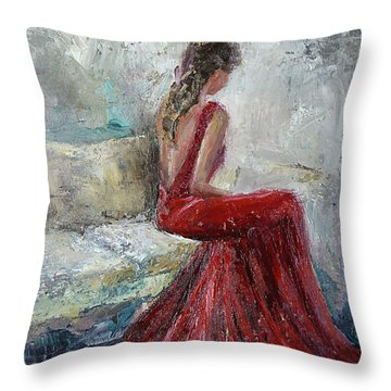 Throw Pillow featuring the painting The Moment by Jennifer Beaudet