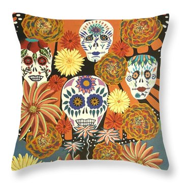 The Monarch's Tree Of Life And The Dead - Day Of The Dead Throw Pillow