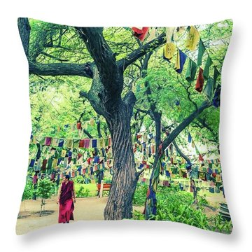The Monk Among The Prayer Flags Throw Pillow