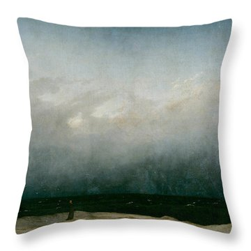 Monk By The Sea  Throw Pillow