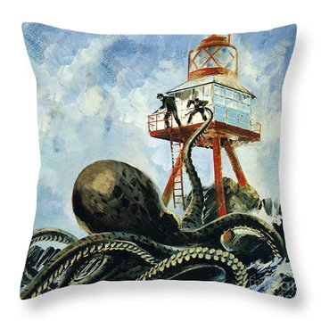 The Monster Of Serrana Cay Throw Pillow by Graham Coton