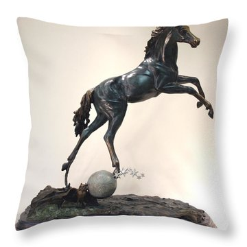 The Moonhorse Bronze Throw Pillow