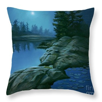 Throw Pillow featuring the painting The Moonlight Hour by Michael Swanson