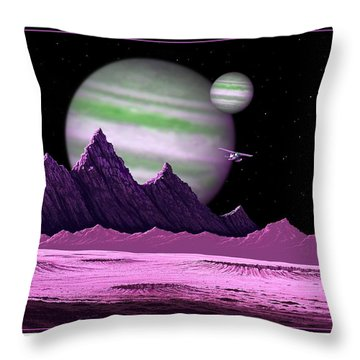 Throw Pillow featuring the digital art The Moons Of Meepzor by Scott Ross